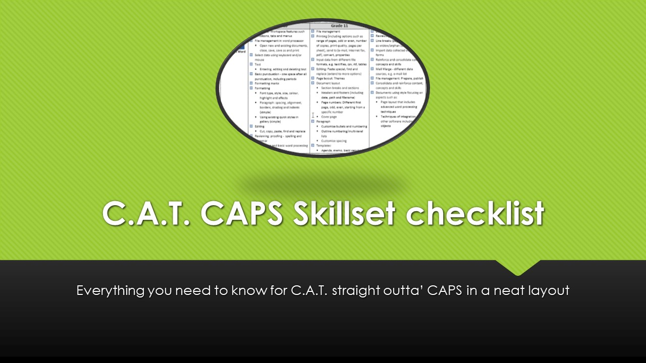 CAPS skillset layout for C.A.T.