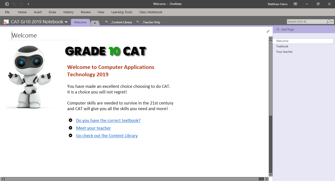 OneNote notebooks for Grade 10 and 11 CAT