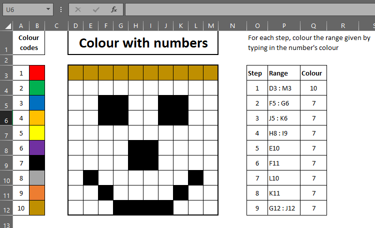 Colour by numbers, using Excel